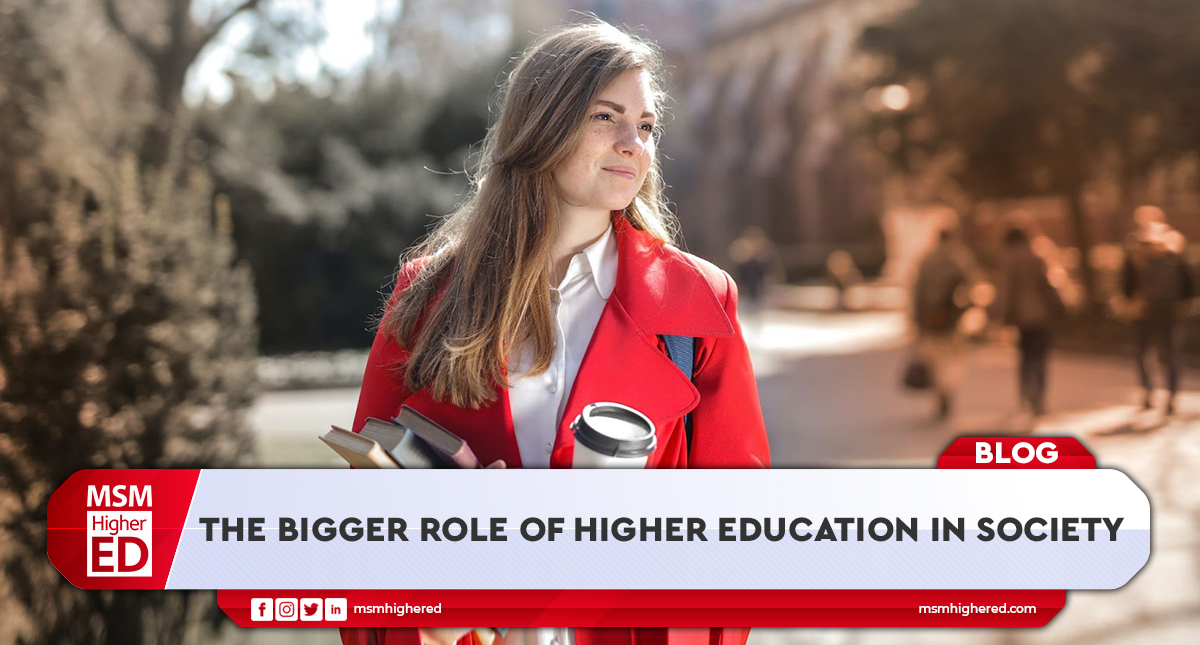bigger role of higher education in society banner